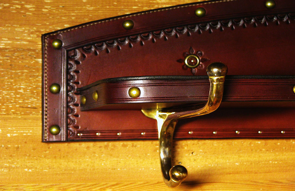 leather shelf - close up